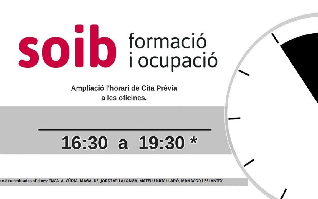 El SOIB amplia de nou l'horari d'atenció al públic a les oficines de Mallorca