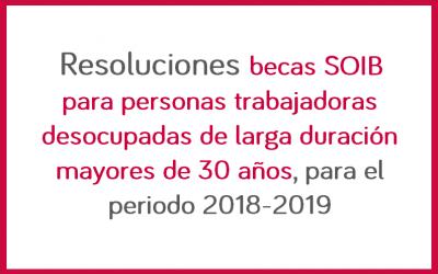 Resoluciones becas SOIB para personas trabajadoras desocupadas de larga duración mayores de 30 años, para el periodo 2018-2019