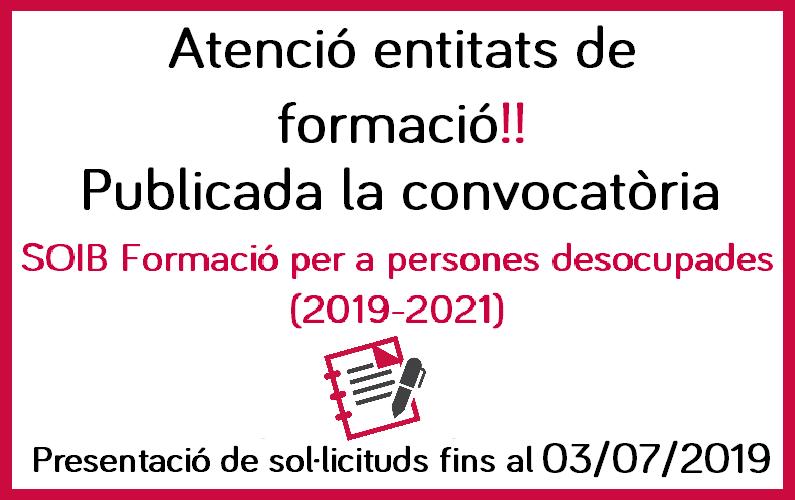 Publicada la convocatòria SOIB formació per a persones desocupades 2019-2021