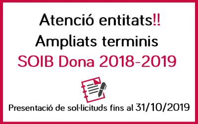 Ampliació terminis SOIB Dona 2018-2019