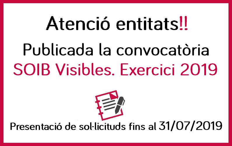 Obert termini de presentació de sol·licituds SOIB Visibles. Exercici 2019