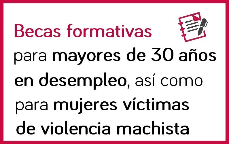 Becas para mayores de 30 años en desempleo y mujeres víctimas de violencia machista, para cursar FP para el empleo financiada por el SOIB