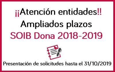 Ampliación plazos SOIB Dona 2018-2019