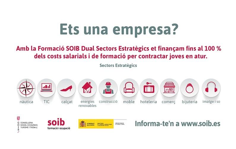 Ets una empresa? Nova convocatòria SOIB Dual Sectors Estratègics 2020-2021. Presenta la teva sol·licitud fins al 30 de novembre!