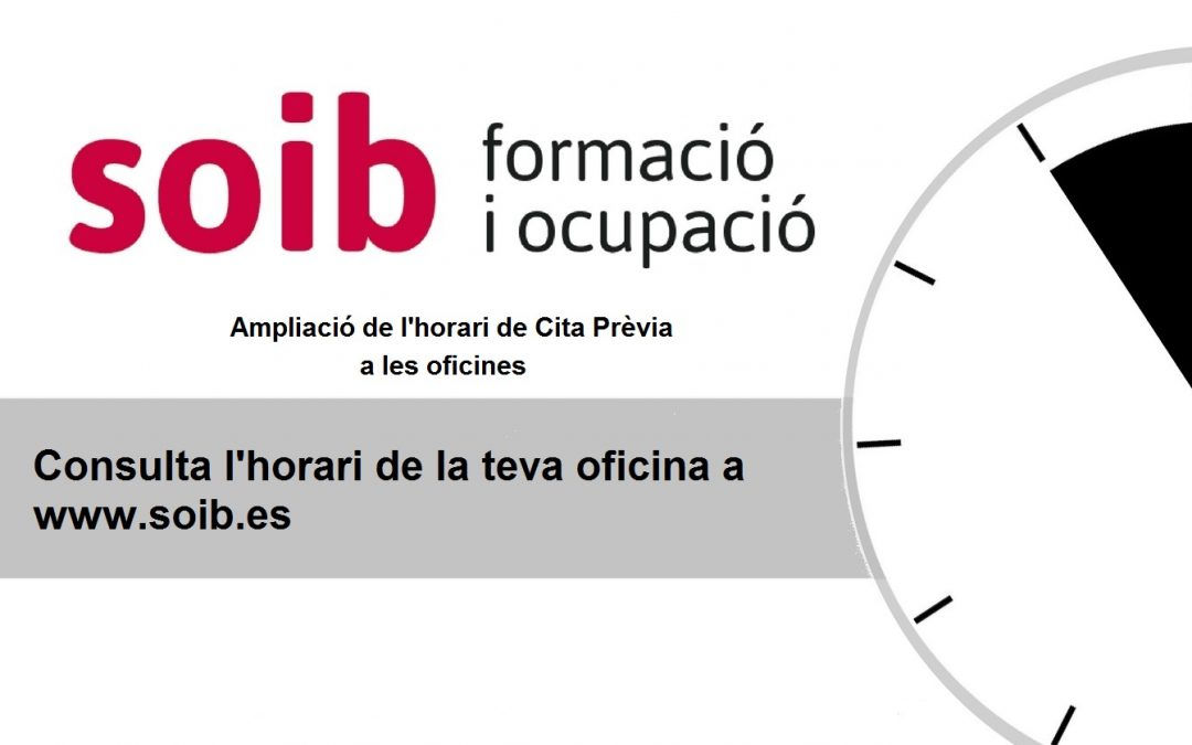 Les oficines del SOIB a Mallorca i Formentera obriran l'horabaixa pel final de la temporada turística
