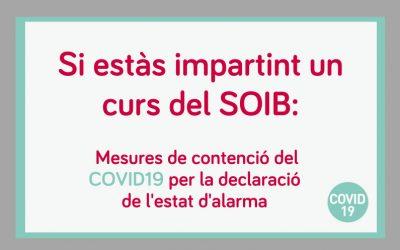 Mesures del SOIB en matèria de formació professional per a l'ocupació, arran de la declaració de l'estat d'alarma