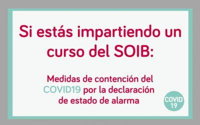 Medidas del SOIB en materia de formación profesional para la ocupación, a raíz de la declaración del estado de alarma