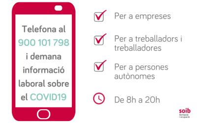 El Govern habilita una línea de atención telefónica 900 101 798 para resolver dudas sobre las medidas económicas y laborales aprobadas
