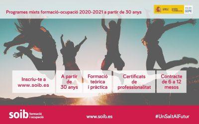 Programes mixts de formació-ocupació 2020-2021 per a persones a partir de 30 anys, en situació d'atur