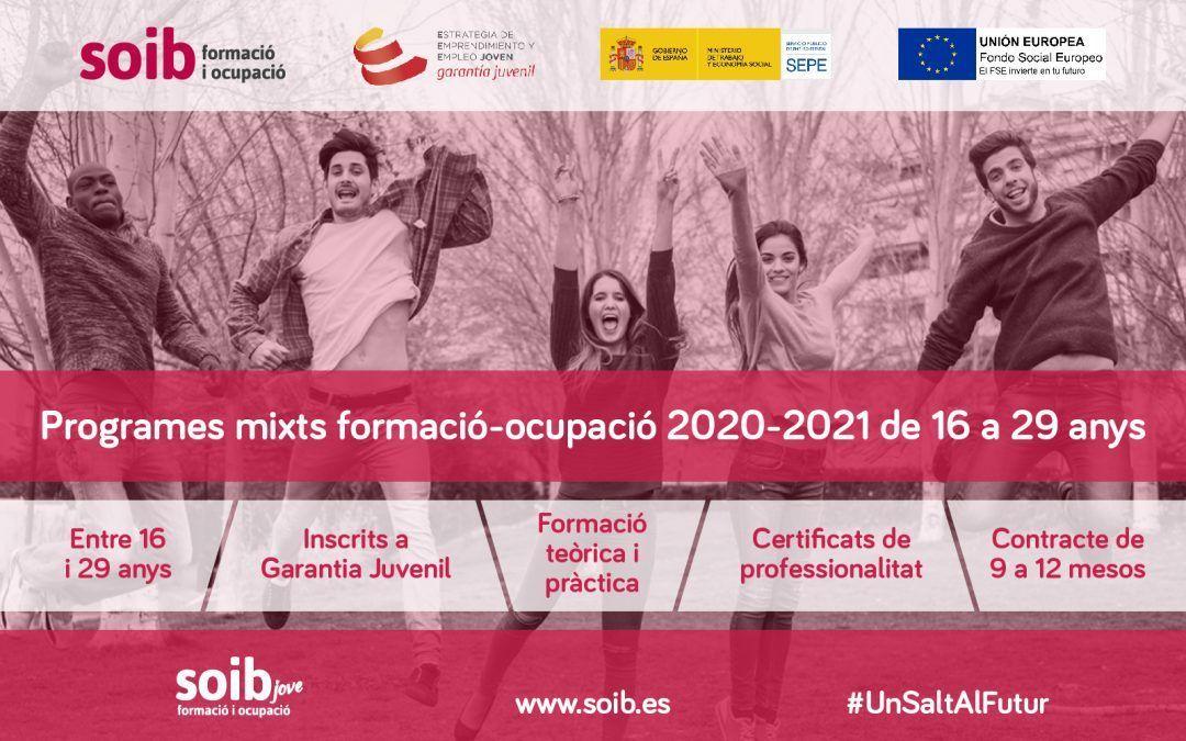 Programes mixts de formació-ocupació 2020-2021 adreçats a joves de 16 a 29 anys, en situació d'atur