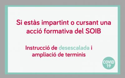 Instruccions per a la desescalada progressiva de la impartició de les accions formatives