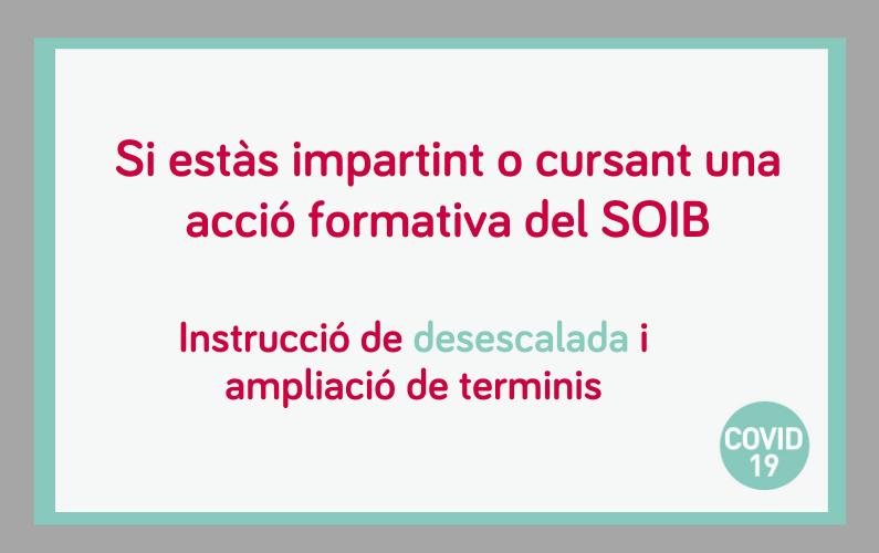 Instruccions per a la desescalada progressiva de la impartició de les accions formatives finançades pel SOIB