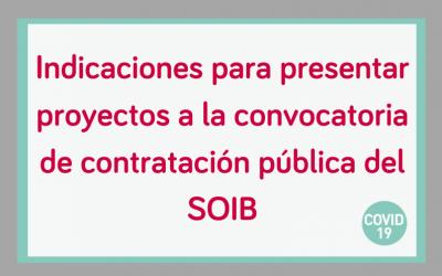 Instrucciones para entidades sobre la convocatoria de subvenciones SOIB Reactiva 2020