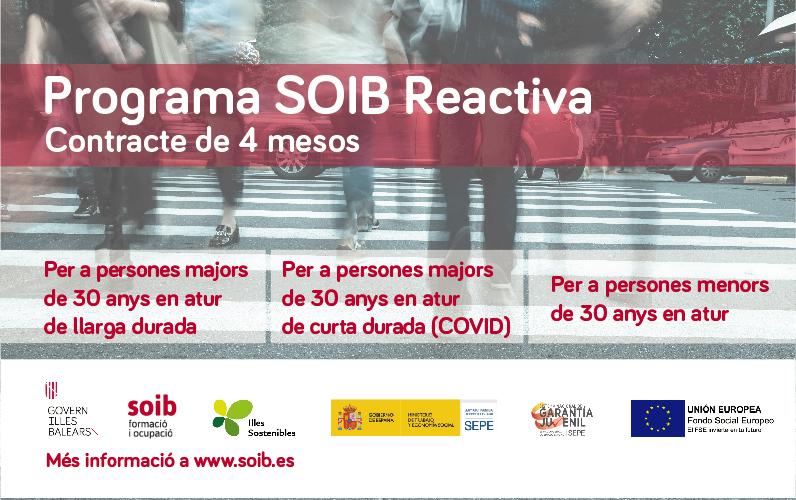Programa de foment de l'ocupació SOIB Reactiva per fer front als efectes de la crisi econòmica per la COVID-19