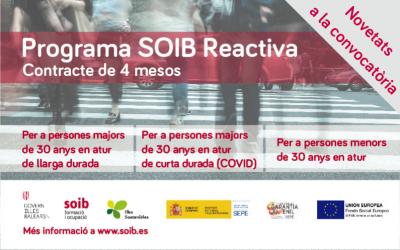 Programa de fomento de empleo SOIB Reactiva para hacer frente a los efectos de la crisis econòmica por la COVID-19