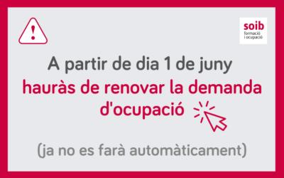 Tota la informació sobre com renovar («segellar») la demanda d'ocupació a partir de dia 1 de juny de 2021