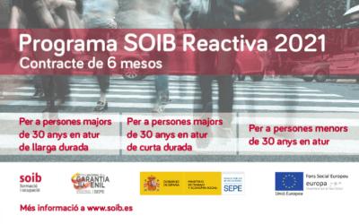 Programa de foment de l'ocupació SOIB Reactiva 2021 per fer front als efectes de la crisi econòmica per la COVID-19